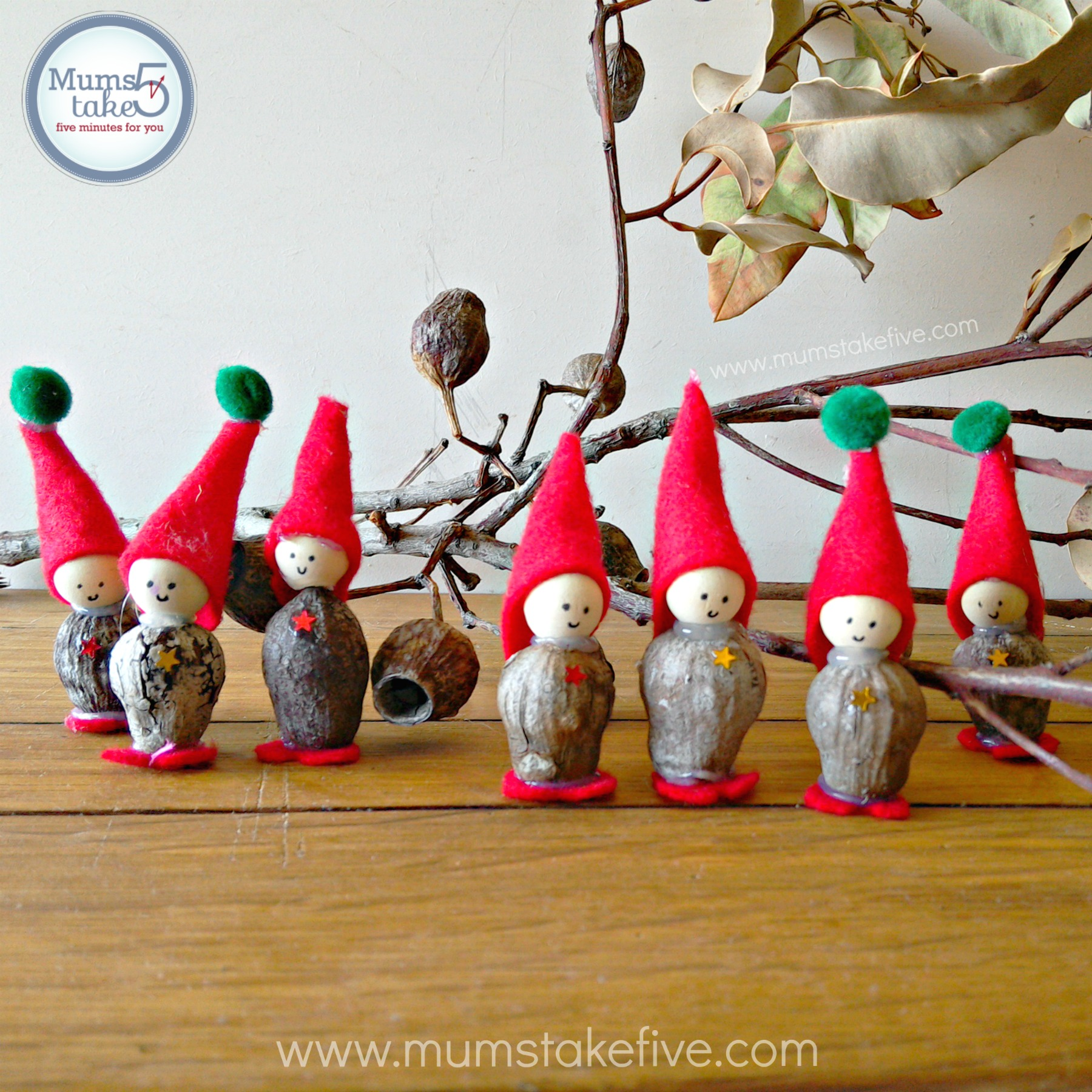 Christmas Elves Gum Nut Craft
