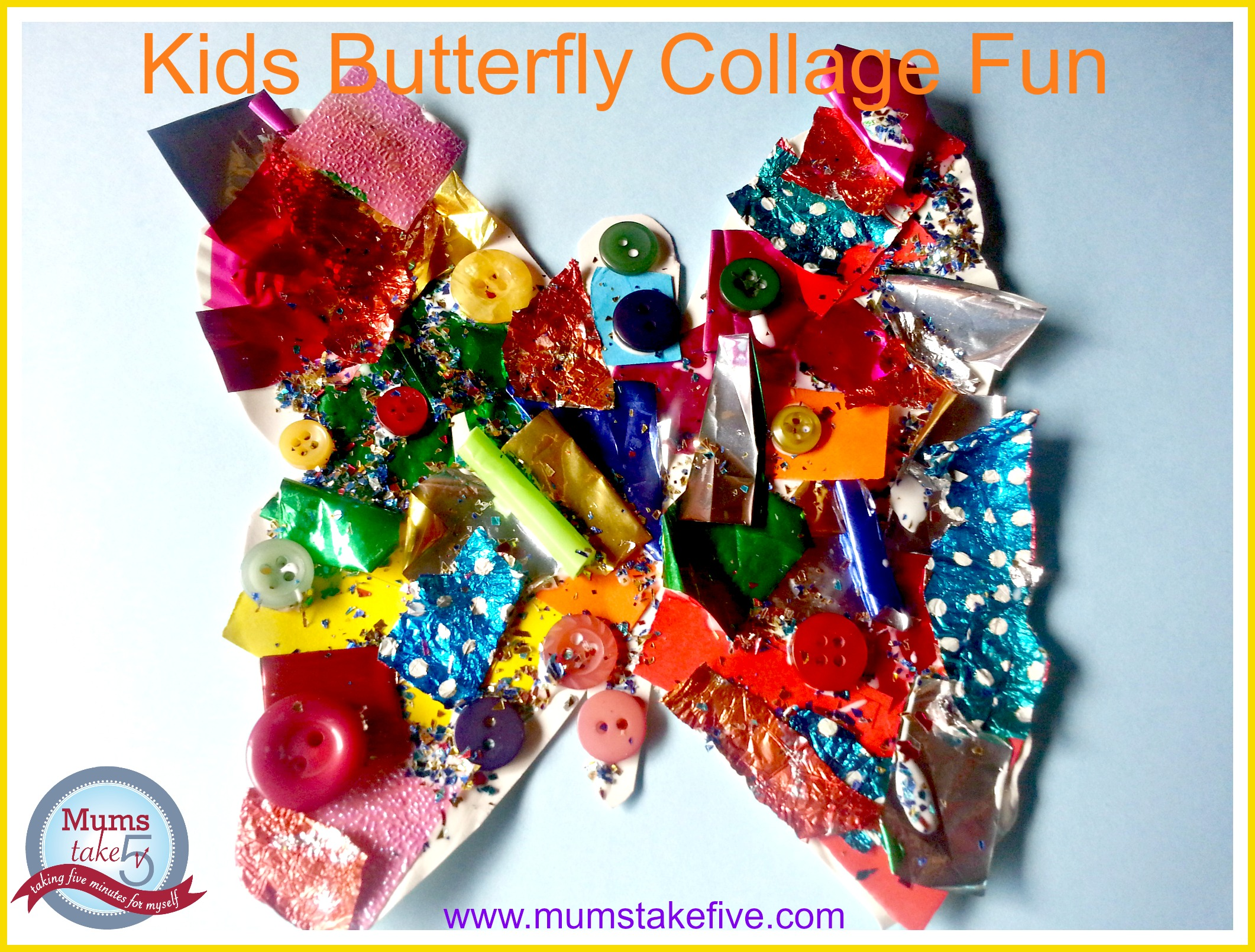 kids collage butterfly craft for preschool and toddlers