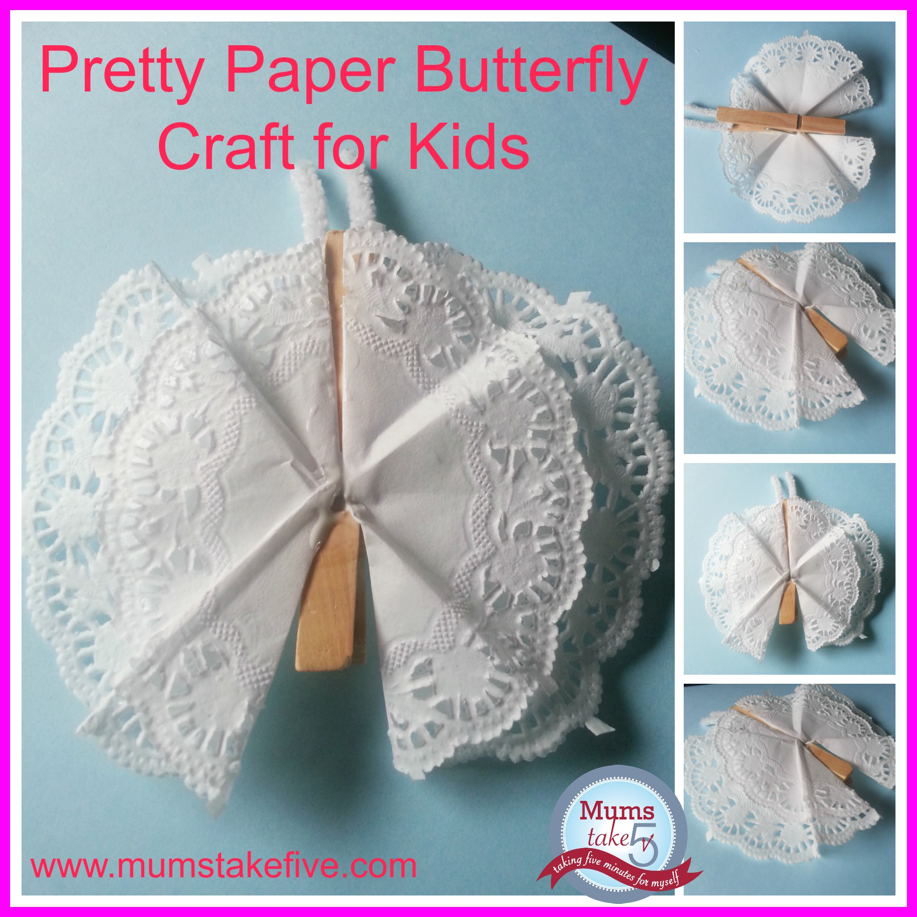 Paper and peg Butterfly craft for kids
