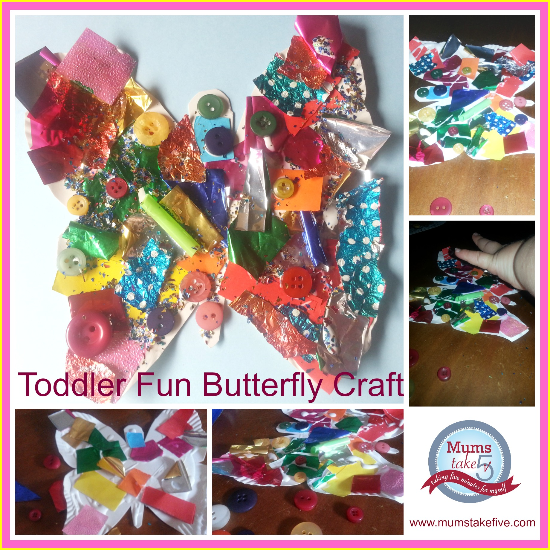 BUtterfly kids craft collage