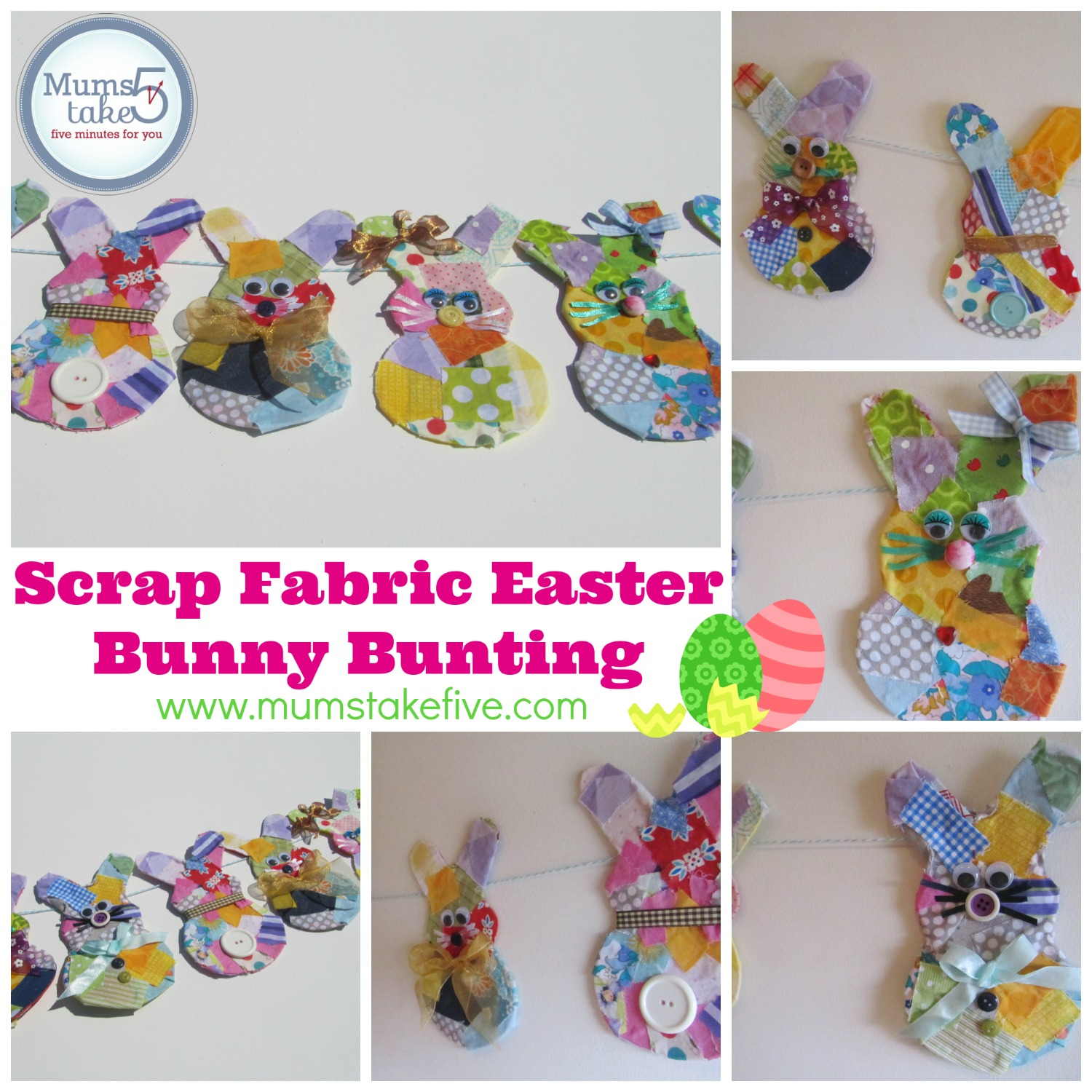 Easter Bunny Scrap Fabric Bunting Craft