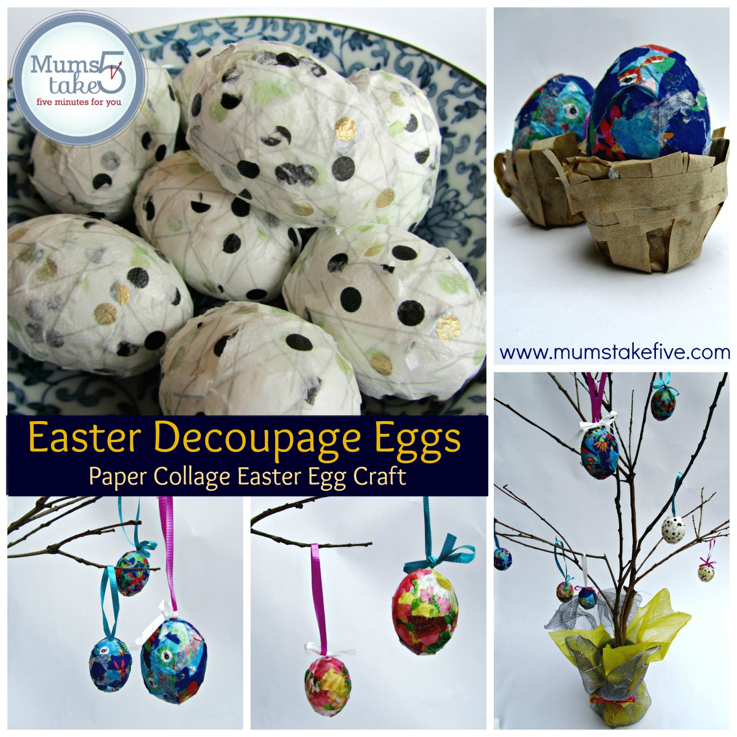 Easter Decoupage Craft. Paper Collage Easter Eggs