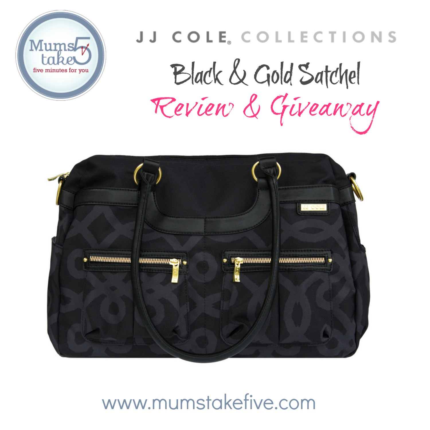 JJ Cole COllections Black and Gold Satchel