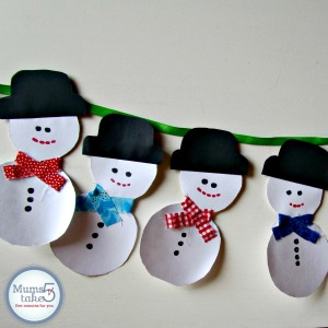 snowman garland preschool craft