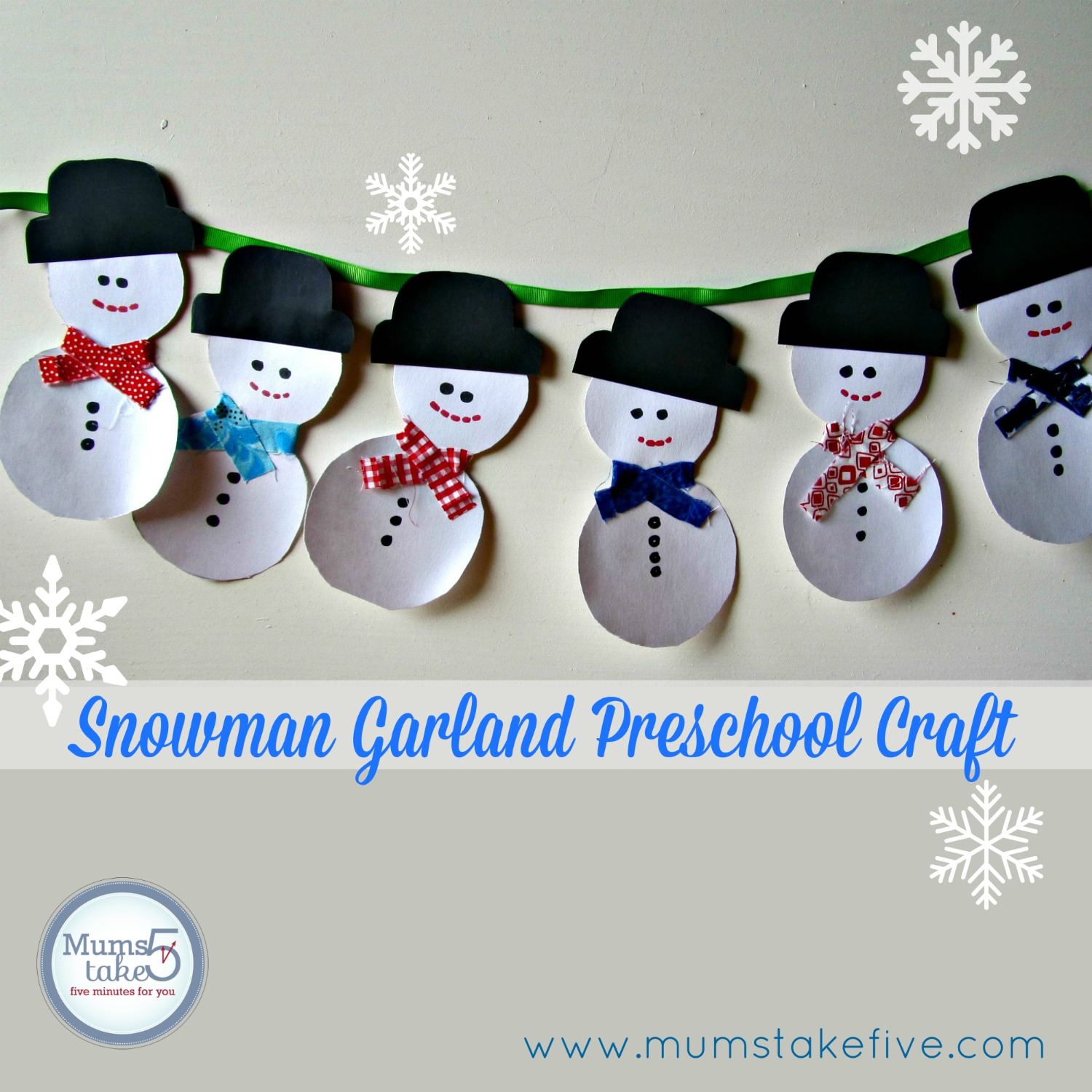 Toddler Preschool Craft Snowman Garland