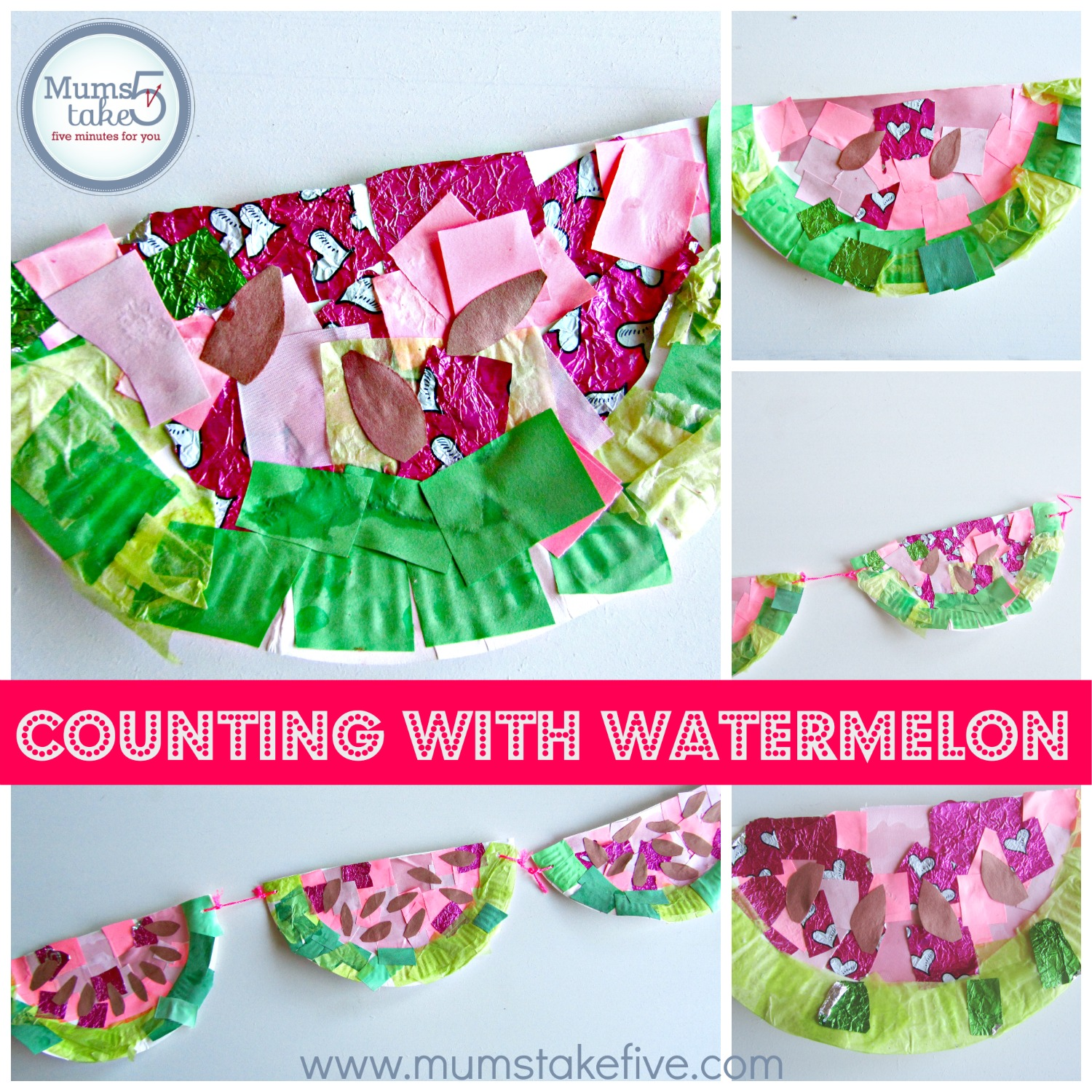 kids learning craft.  preschool counting with watermelon craft